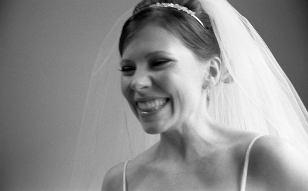 Black and White Film Portrait of a bride