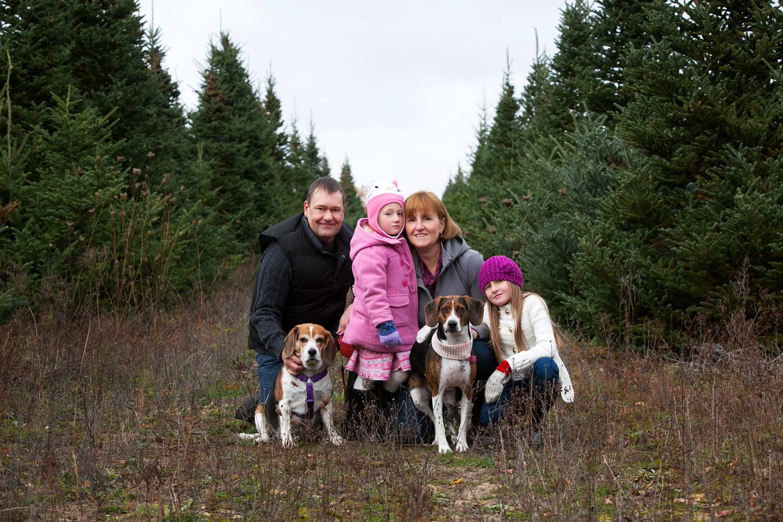 Fall family portrait in field