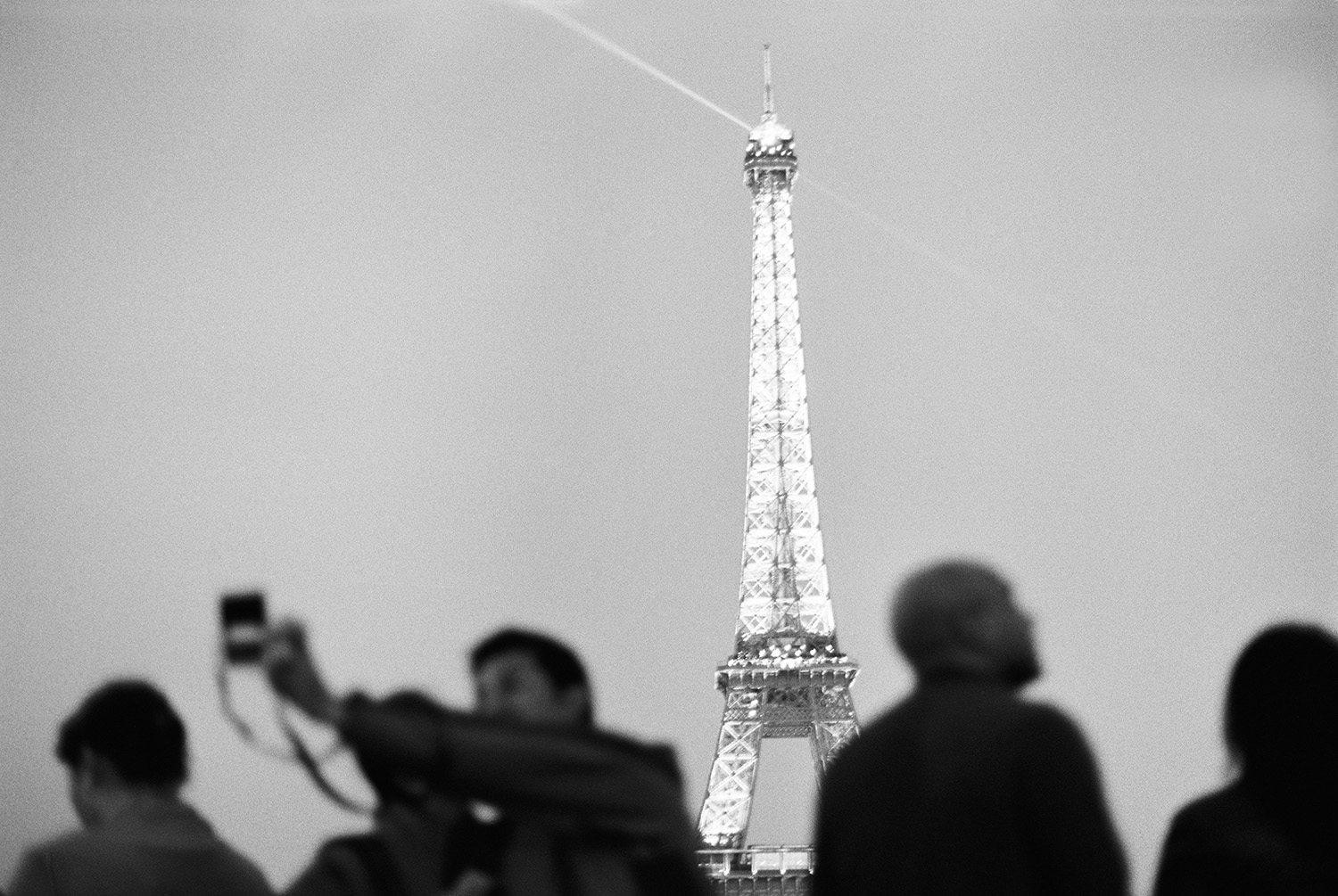 The Eiffel Tower in black & white.